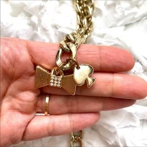 Kate Spade Gold Chain Belt Rhinestone Bow Small